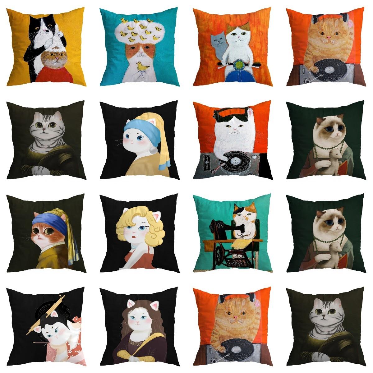 Чехол для подушки с милым котом, декоративный чехол для подушки с двухсторонним принтом животных, чехол для подушки из полиэстера, чехол для... чехол