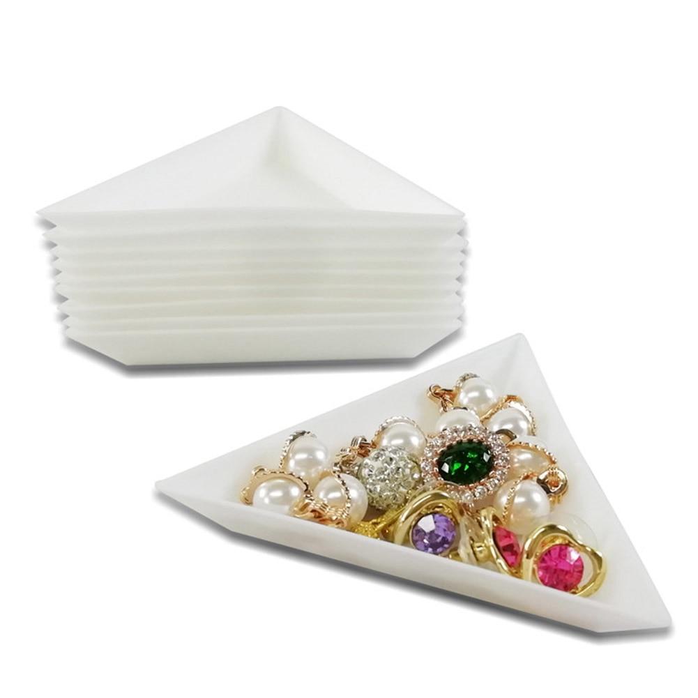 10Pcs Plastic Nail Rhinestone Storage Box Plate Diamond Beads Cup Triangular Tray Nail Art Glitter Container Holder Tool