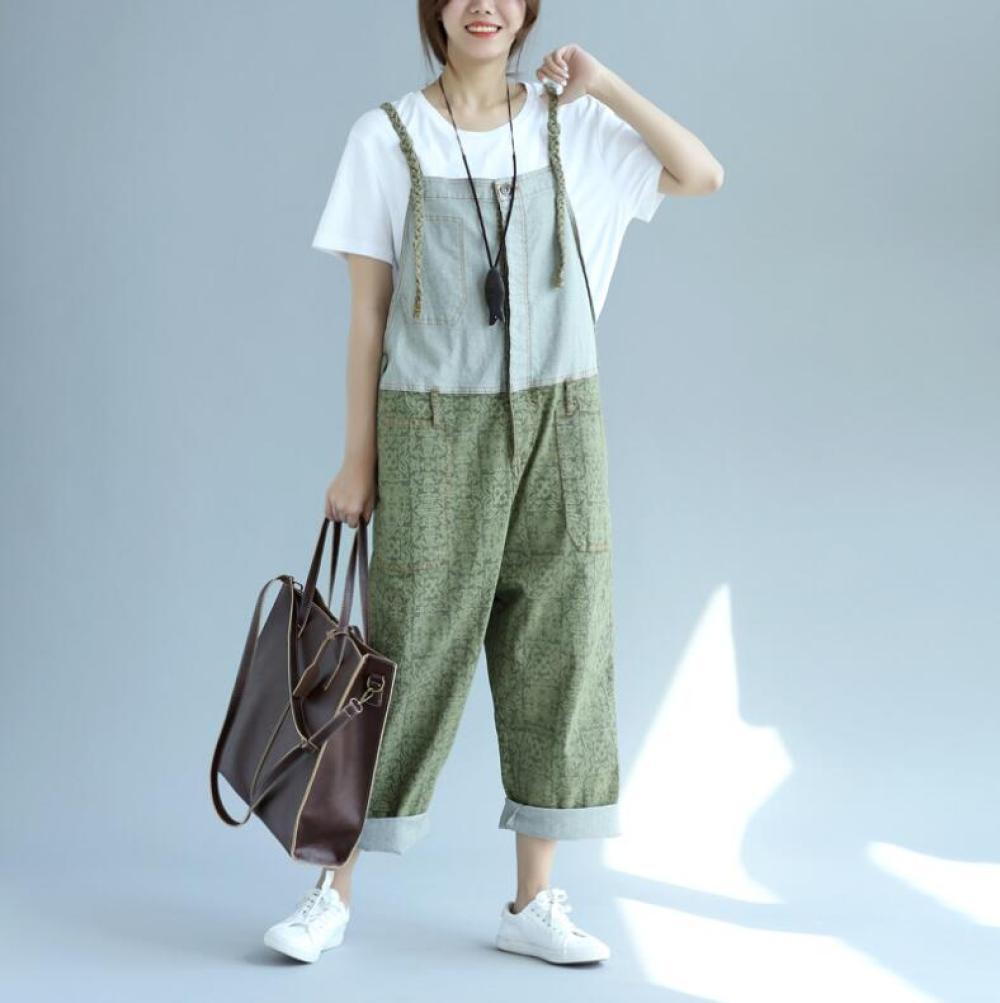Mono vaquero suelto e informal de Color contrastante para mujer, novedad de verano, pantalones vaqueros de pierna ancha con costura en la entrepierna baja, bolso grande