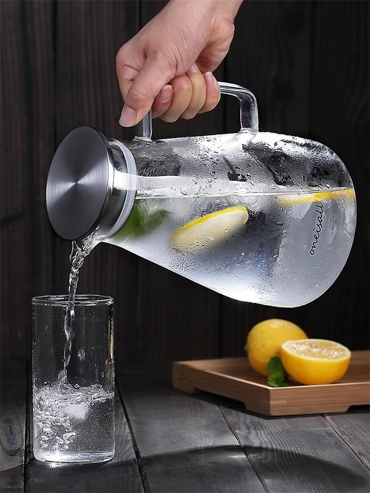 Tetera gruesa de alto borosilicato de vidrio transparente agua fría caliente jarra flor té jugo tetera con tapa de mango resistente al calor
