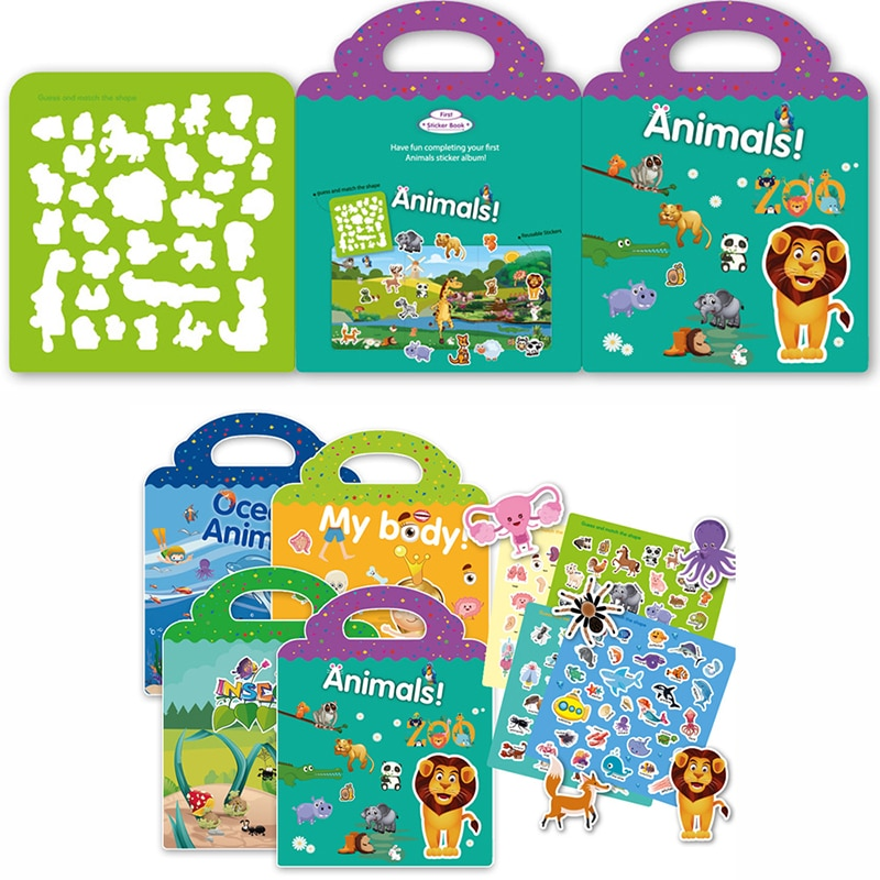 Children Stickers Books Reusable Scenes Stickers Puzzle Game DIY Cartoon Stickers Learning Education