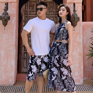 Couples Swimwear Women Bikini Sets Cover Up Mans Beach Trunks Shorts Lover's Girls Printed Swimsuit Beach Dress 2020