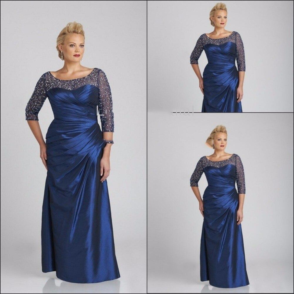 Темно-синий 2019 платье-Русалка для невесты 3/4 рукава бисером плюс размер строгий костюм; для жениха длинные платья для матери на свадьбу