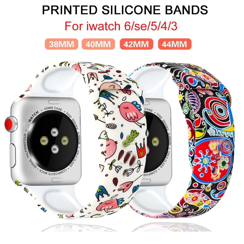 Printed Strap For Apple Watch band 44mm 40mm iwatch 42mm 38mm correa Silicone women bracelet for app