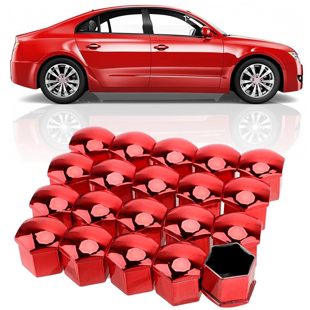 LEEPEE 20 piezas 19mm tapas de tuercas antioxidantes de rueda de coche, cromo brillante, tuerca para neumático de coche, Perno, tapón de tornillo de tapacubos para automóvil, tapas de protección