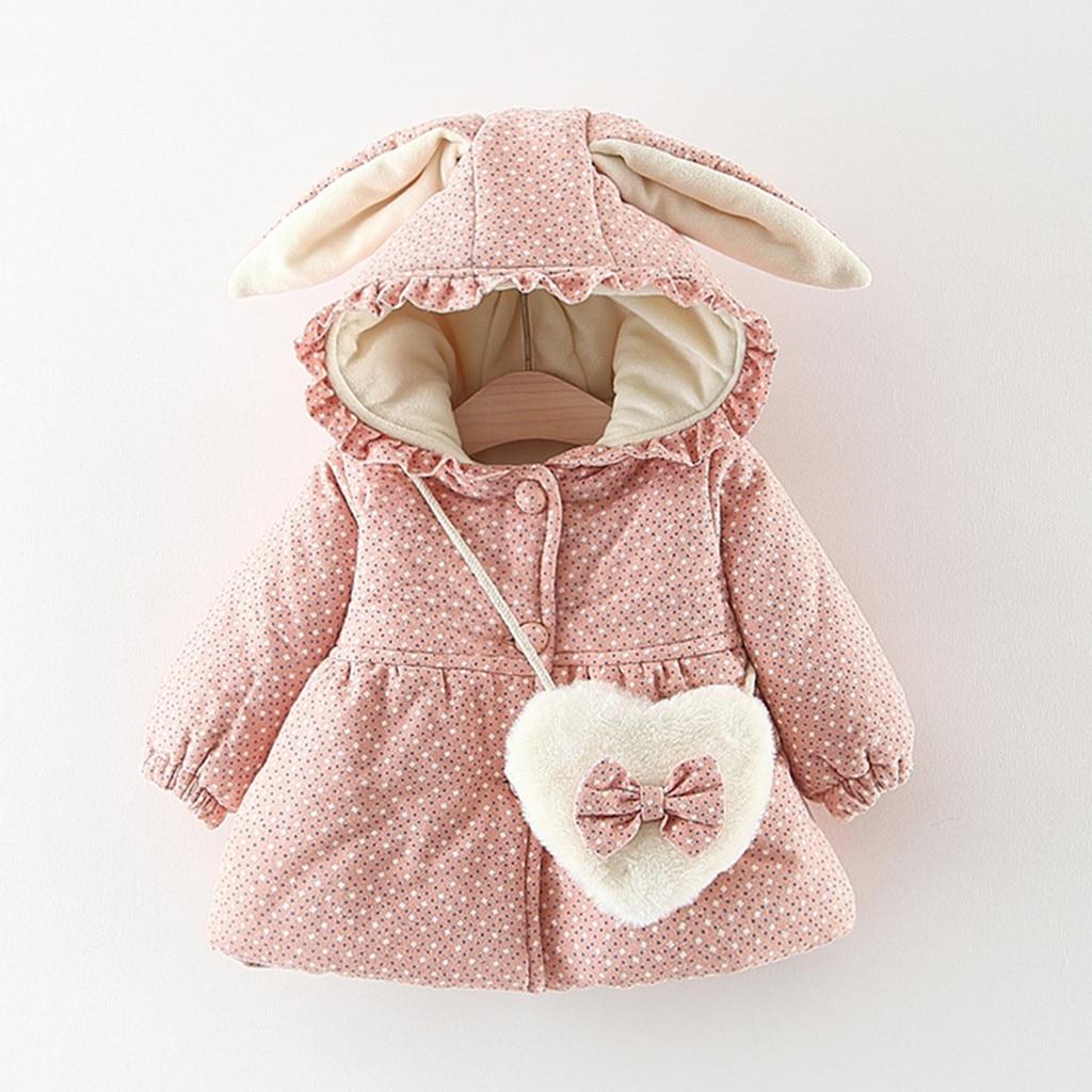 Пальто для маленьких девочек с длинными рукавами оборками в горошек заячьими