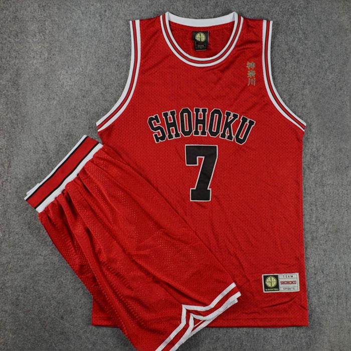 Slam Dunk Kanagawa Shohoku, núm. 7, Miyagi Ryota, chaleco y pantalones cortos de Cosplay, bordado SD, conjuntos de Jersey de baloncesto