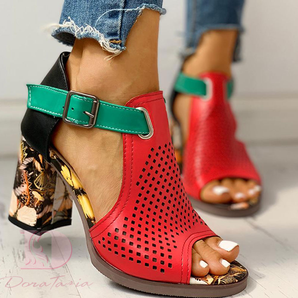 Doratasia big size 43 Pre-Sale customized shoes square high heels Shoes sandals woman Summer Party hollow Shoes Woman sandals