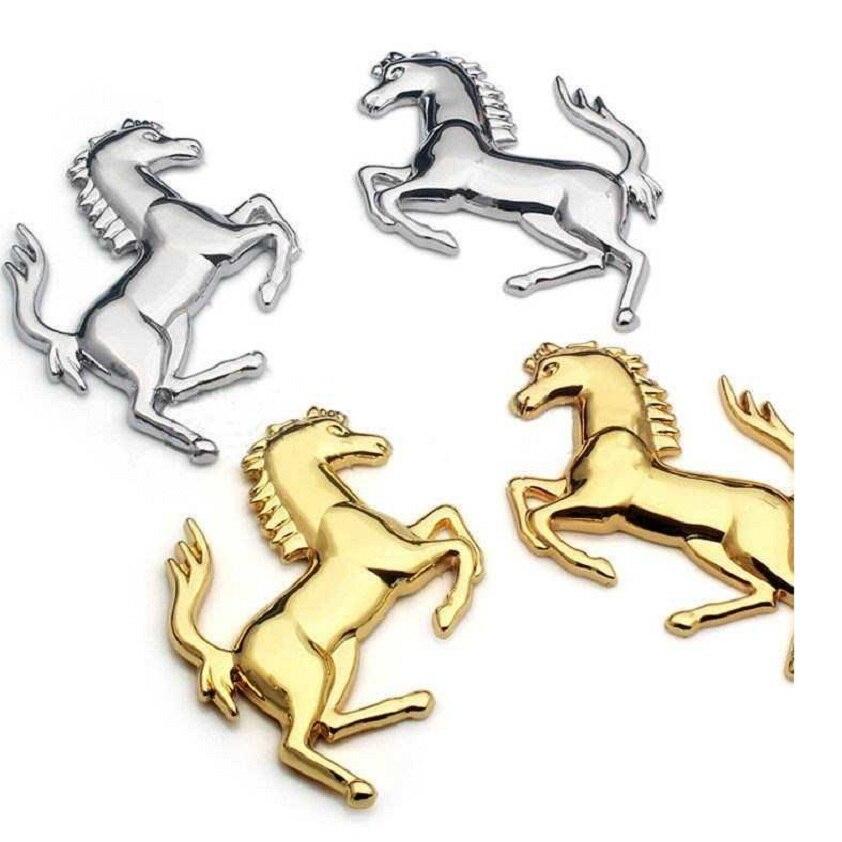 3D Logotipo de aleación de Zinc de Caballo de Metal emblema adhesivo insignia emblema etiqueta para Ford coche Ferrari ventana parachoques etiqueta engomada del cuerpo de coche-estilo