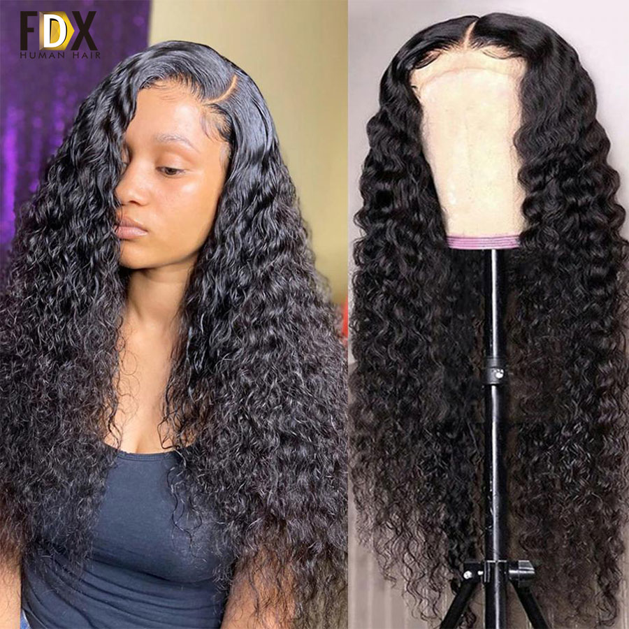 30 32 inch Deep Wave Lace Front Human Hair Wig 13x4 13x6 HD Lace Frontal Wig 250% Brazilian Deep Curly 4x4 5x5 Lace Closure Wig