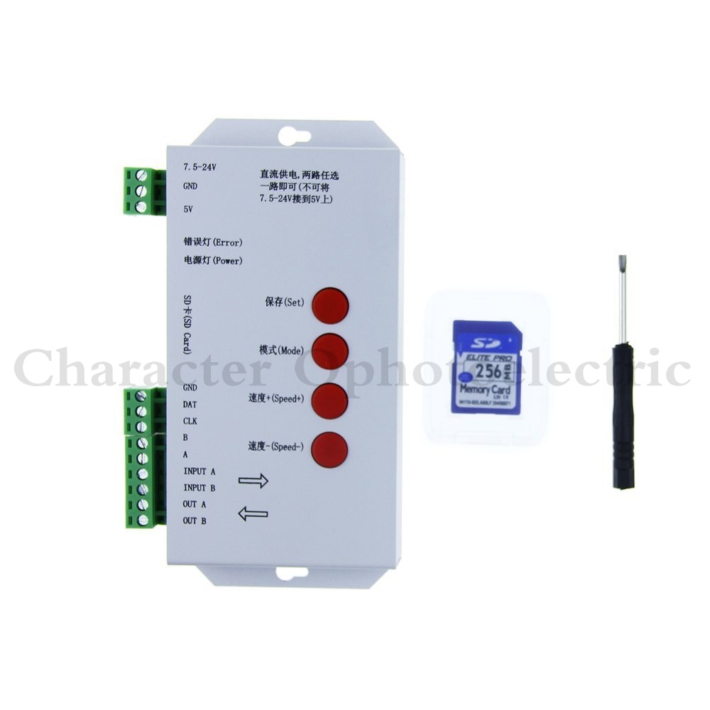 5 piezas T1000S tarjeta SD WS2801 APA102 WS2811 WS2812B LPD6803 LED 2048 píxeles controlador DC5 ~ 24V T-1000S RGB controlador