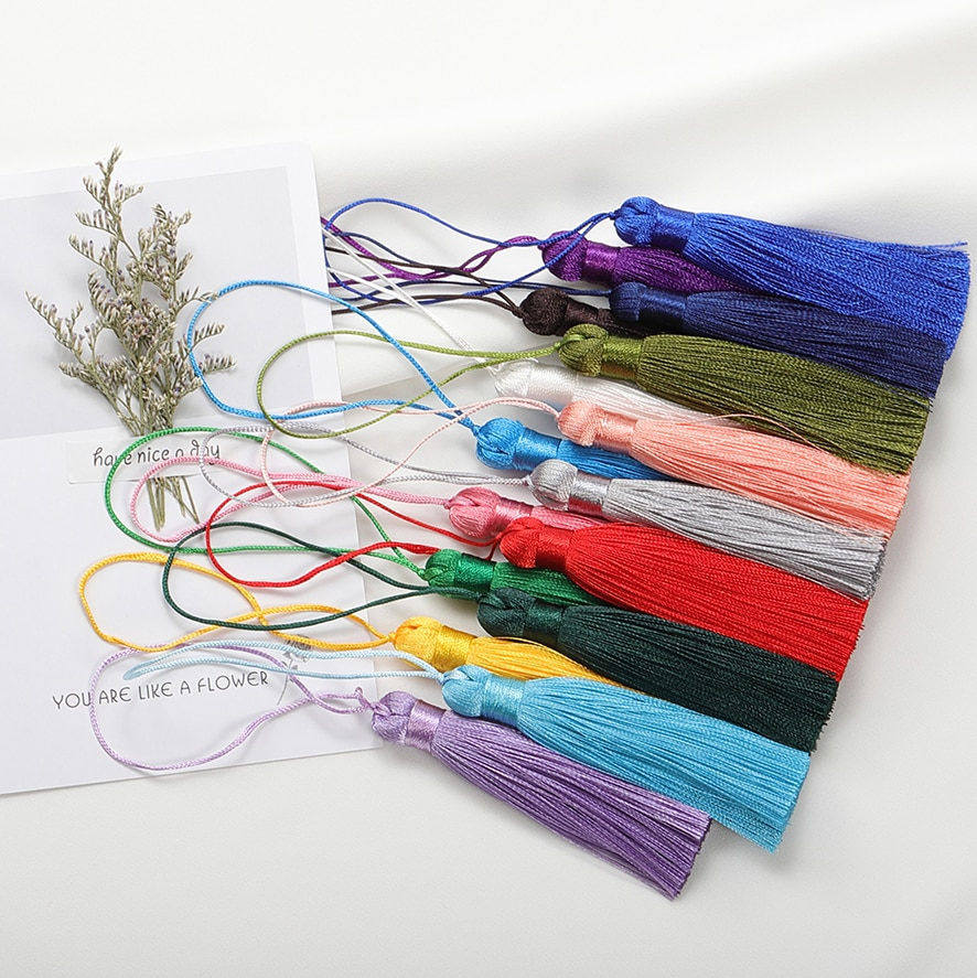 10pcs/lot 8cm Polyester Silk Tassel Brush Charms Pendant For DIY Jewelry Making Accessories Handmade Crafts Material Supplies 100pcs lot 3 20colors diy polyester fluffy ballerina chiffon flower with pearl button in centre handmade accessories
