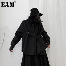 [EAM] Women Black Asymmetrical Big Size Blouse New Lapel Long Sleeve Loose Fit Shirt Fashion Tide Spring Autumn 2020 19A-a537