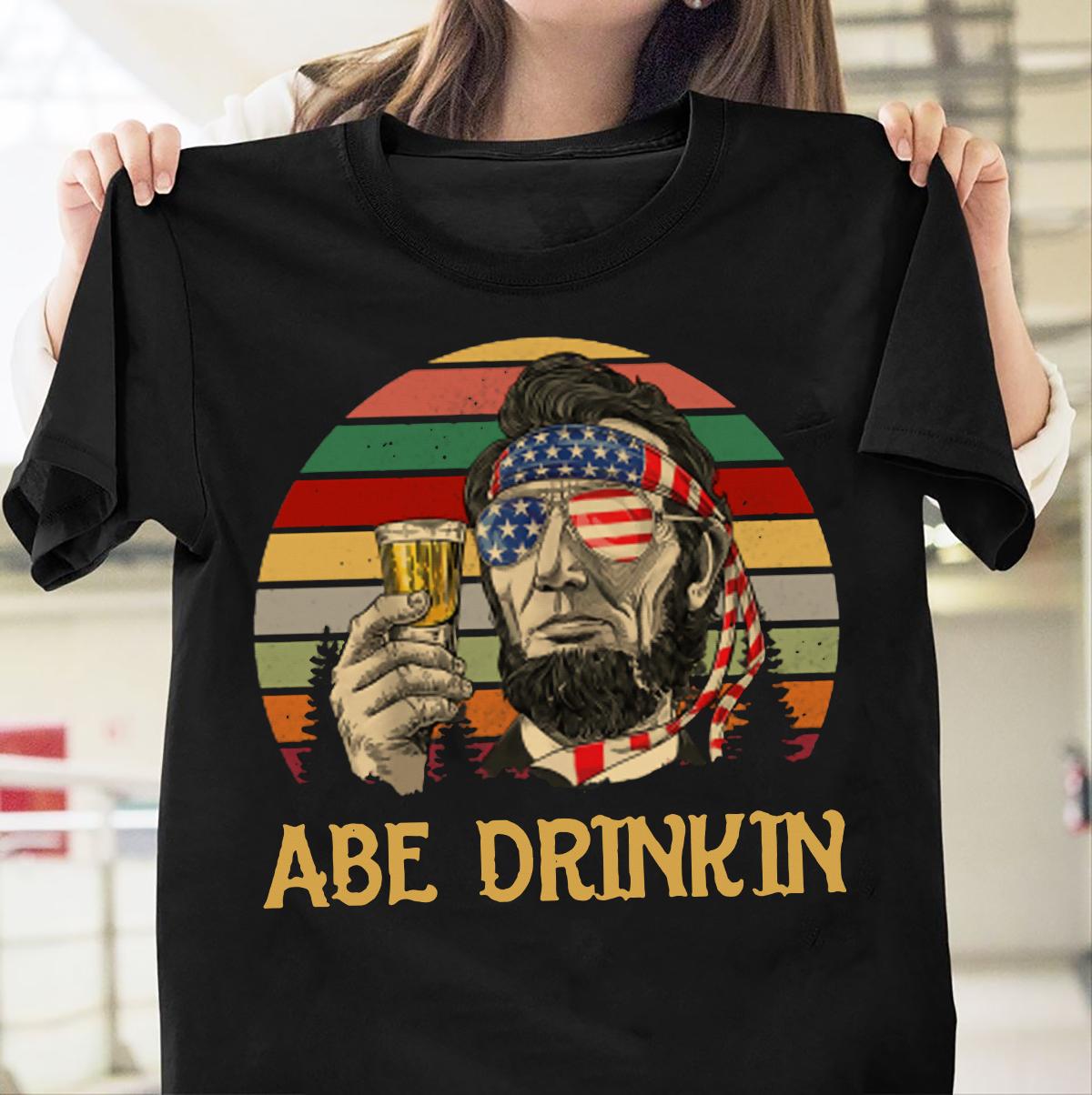 Abe Drinkin Beer-Camiseta Vintage del 4 de julio, camiseta Unisex a la...