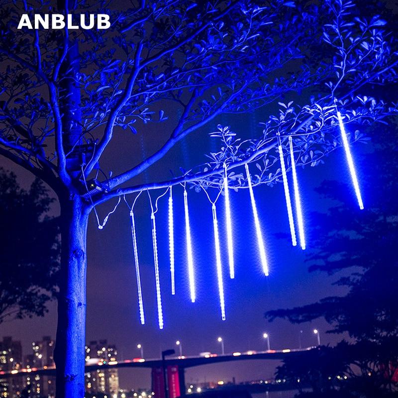 ANBLUB 30cm 50cm 8 Tubes Waterproof Meteor Shower Rain LED String Lights Outdoor Christmas Decoration for Home Tree EU/US Plug