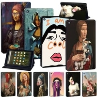 tablet case for amazon fire 7 hd 8 hd 8 plus 2020 hd 10 funny painting sample series leather stand cover case