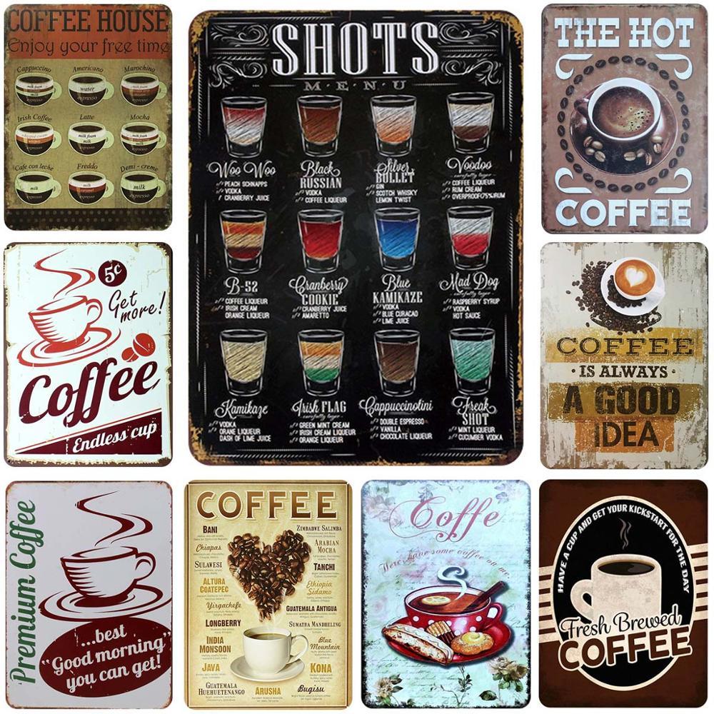 Buen té y café arte pintura café té tienda de placas de Metal Vintage Chic estaño signo-Placa de hierro firmar pegatinas de pared decoración para el hogar