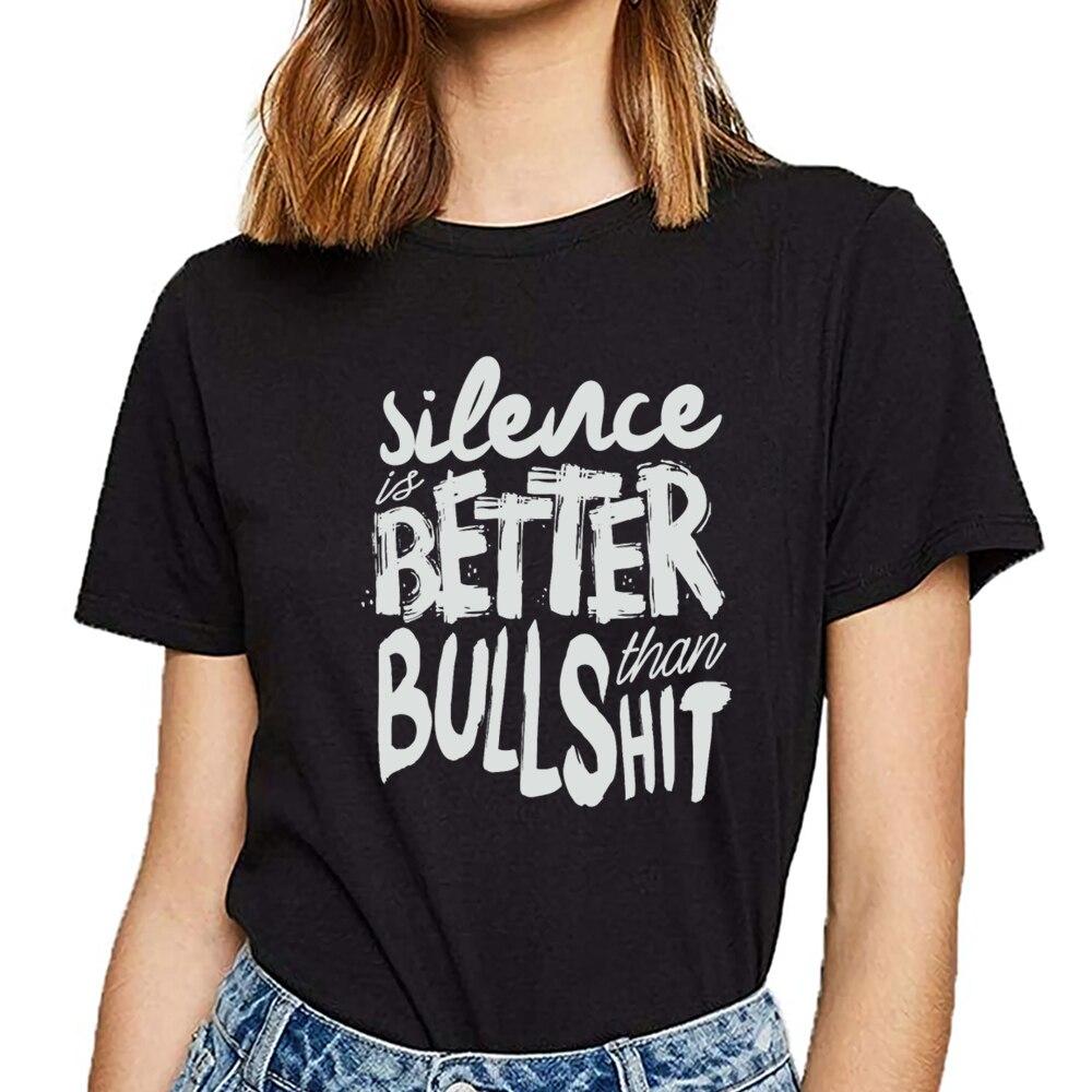 Tops camiseta mujer silencio es mejor que bu moda algodón blanco camiseta femenina
