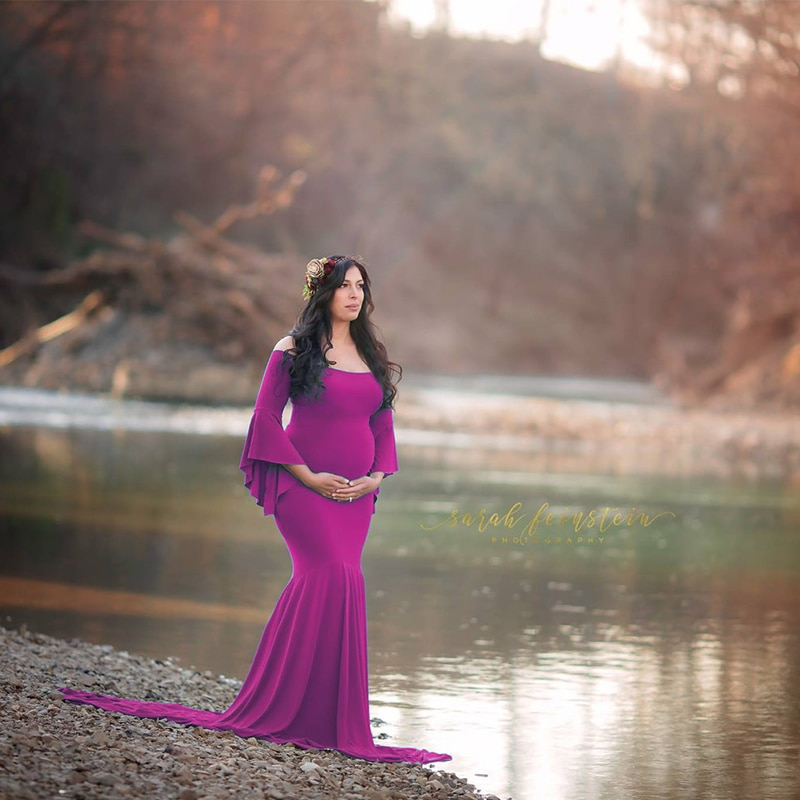 Maternity Dresses For Photo Shoot Women Pregnants Sexy Off Shoulderless Dress Maxi Photography Props Maternity Pregnancy Dresses enlarge