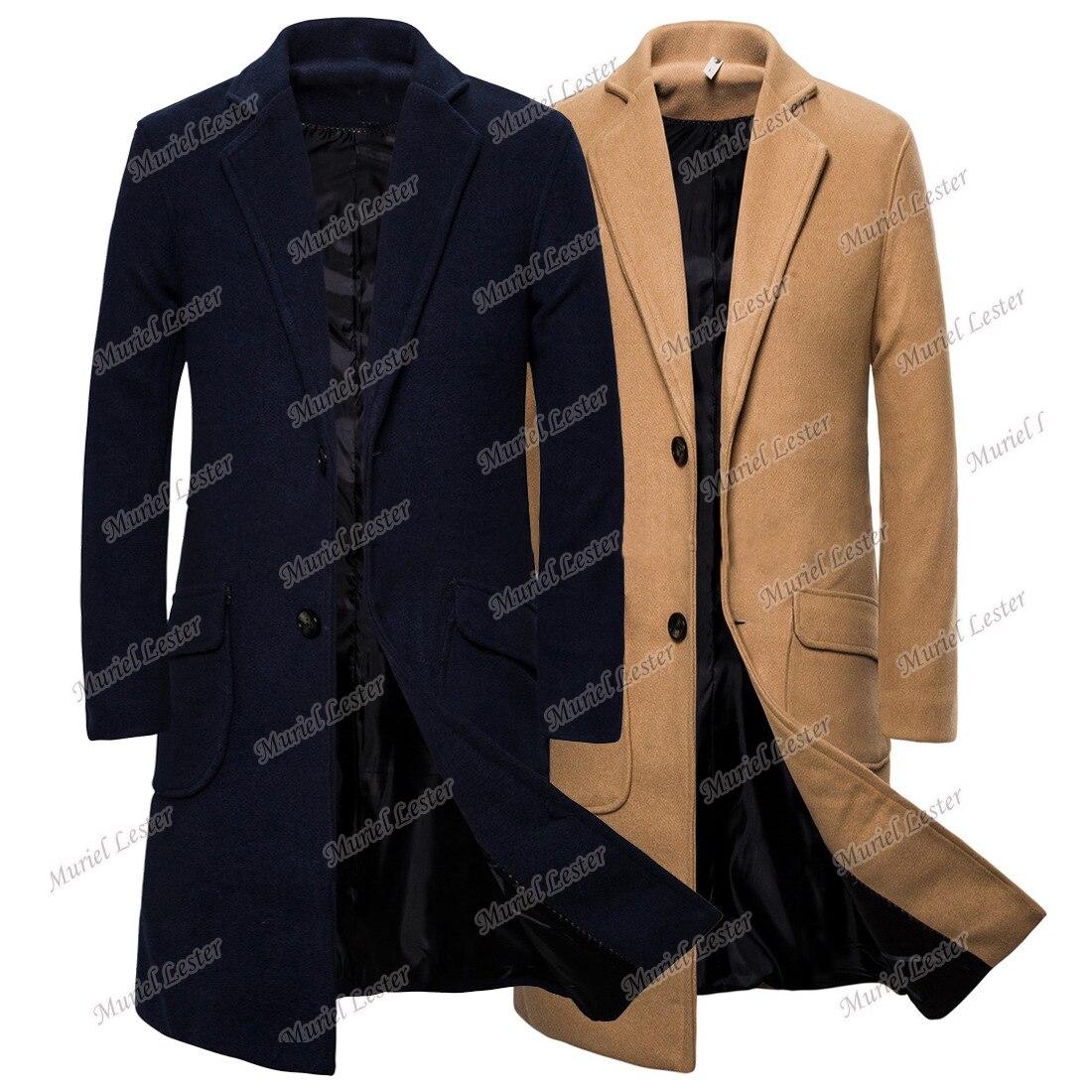 جاكت رجالي شتوي كلاسيكي ملابس رجالي من قماش التويد صوف سميك ممزوج بسترة صدر واحدة للخروج معطف طويل
