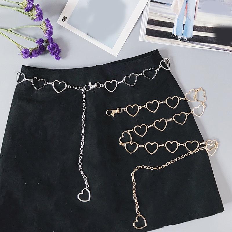 2020 Vinage Flash Drill cinturón de cadena de la cintura del corazón lindo cinturones de Metal de plata para las mujeres estilo Punk Jeans cinturón niñas falda cinturones de cadena