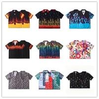 2021 new tie dye flame print mens loose casual shirts japanese streetwear fashion harajuku button up shirt summer short sleeves