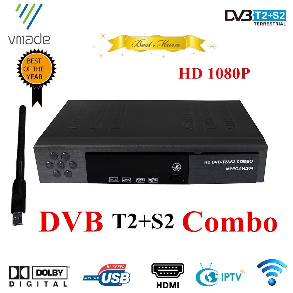 Receptor de satélite HD Digital DVB T2 + S2 sintonizador de TV por cobrar MPEG4 DVB-T2 receptor de TV T2 sintonizador Compatible con WIFI DVB receptor combinado