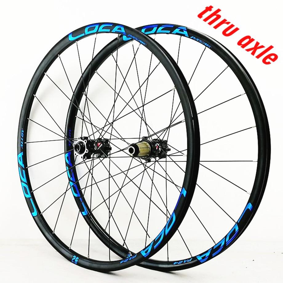 MTB Mountain Bike 24 Holes Thru-axis Wheels 700C Road Bicycle Straight Pull Spokes 26/27.5/29 Six Claw Matte Black Wheel Set