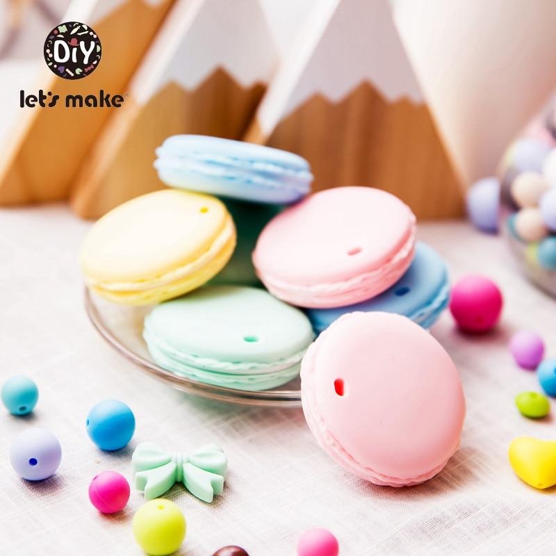 Let's Make Silicone Teether Cookies Shape 1pc Teething Toys BPA Free Food Grade Cartoon DIY Pacifier Accessories Baby Teethers недорого