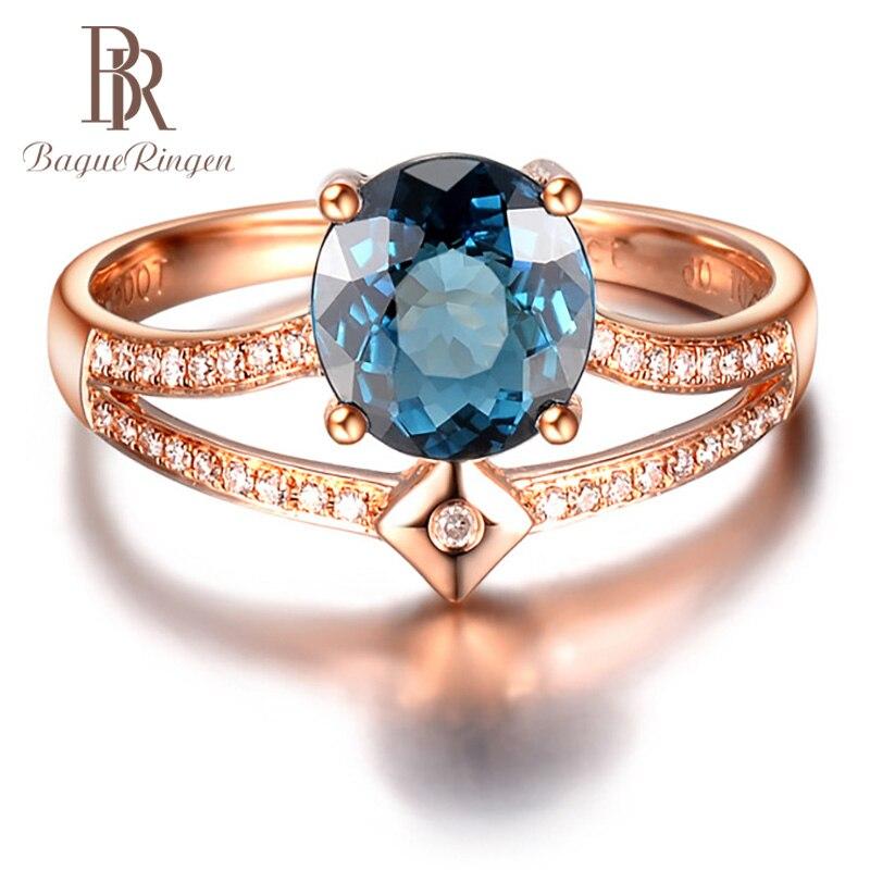 Bague Ringen 100% anillo de plata real 925 con piedras preciosas de zafiro redondo joyería de plata para mujer fiesta aniversario regalos de San Valentín