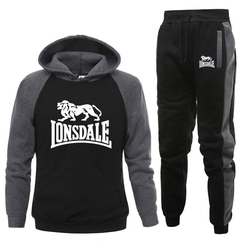 Костюм спортивный Lonsdale мужской повседневный, брендовый спортивный костюм с капюшоном и брюками, комплект из двух предметов, Осень-зима