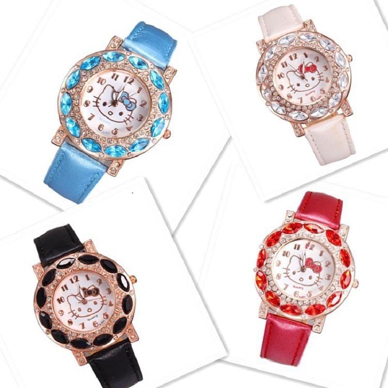 Hello Kitty Crystal Dial Rhinestone Quartz Watch hodinky Ladies Kids Girls Baby Leather Strap Watch ceasuri Gift Relojes Mujer