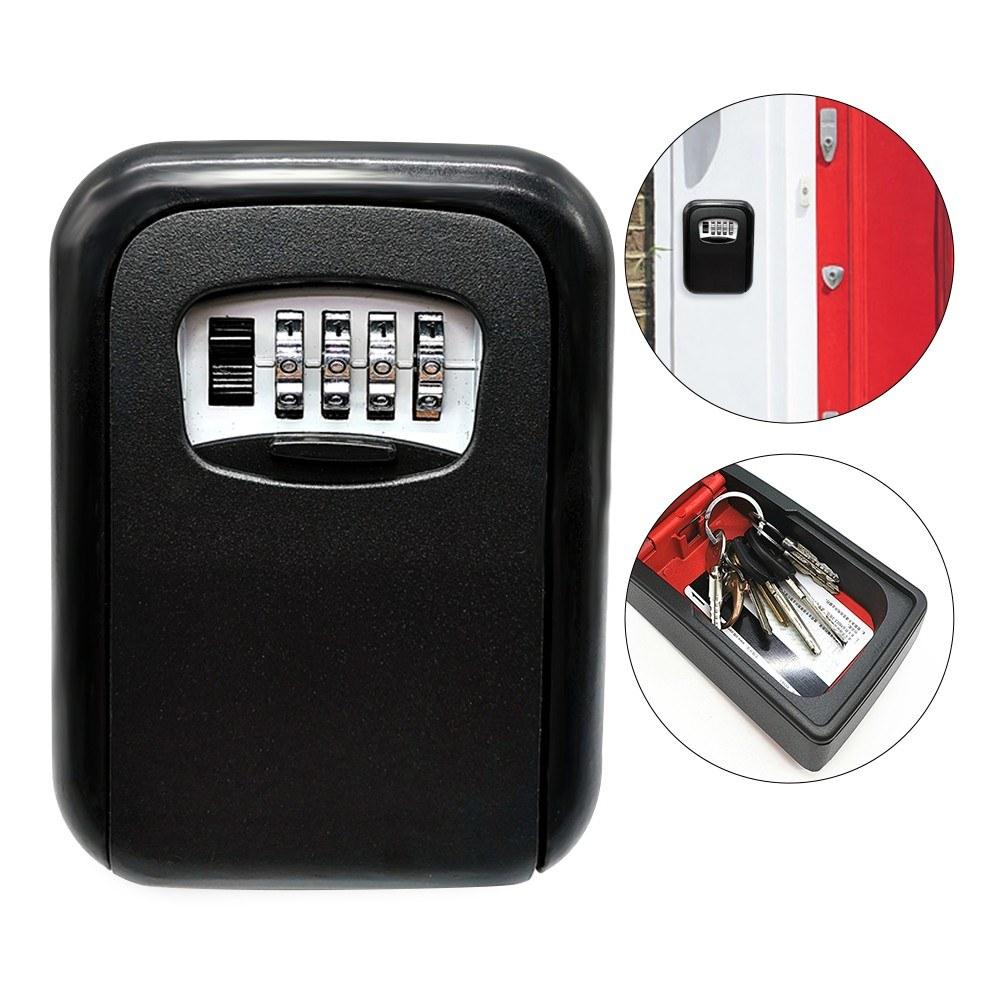 Key Storage Lock Box 4-Digit Combination Lock Box Wall Mounted Lock Box Key Safe Box Security Key Holder