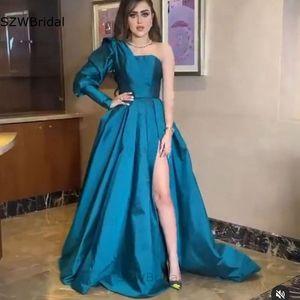 Новое поступление, атласное вечернее платье на одно плечо с длинным рукавом, Abendkleider 2021, длинное платье знаменитости Дубая