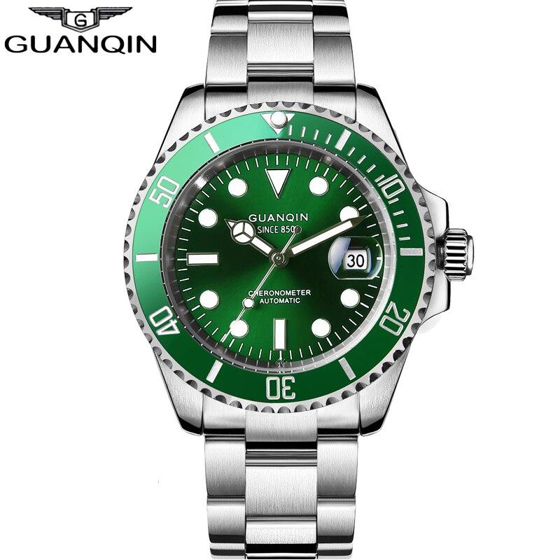 GUANQIN 2020 автоматические часы Япония движение водонепроницаемые мужские часы керамический Безель роскошные механические сапфировые часы Relogio Masculino