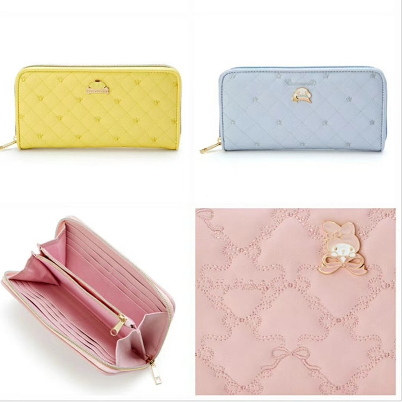 Sanrio Hello Kitty My Melody Cinnamoroll pomppurin monedero de Cremallera larga para mujer monedero de mujer carteras de embrague para niñas regalos