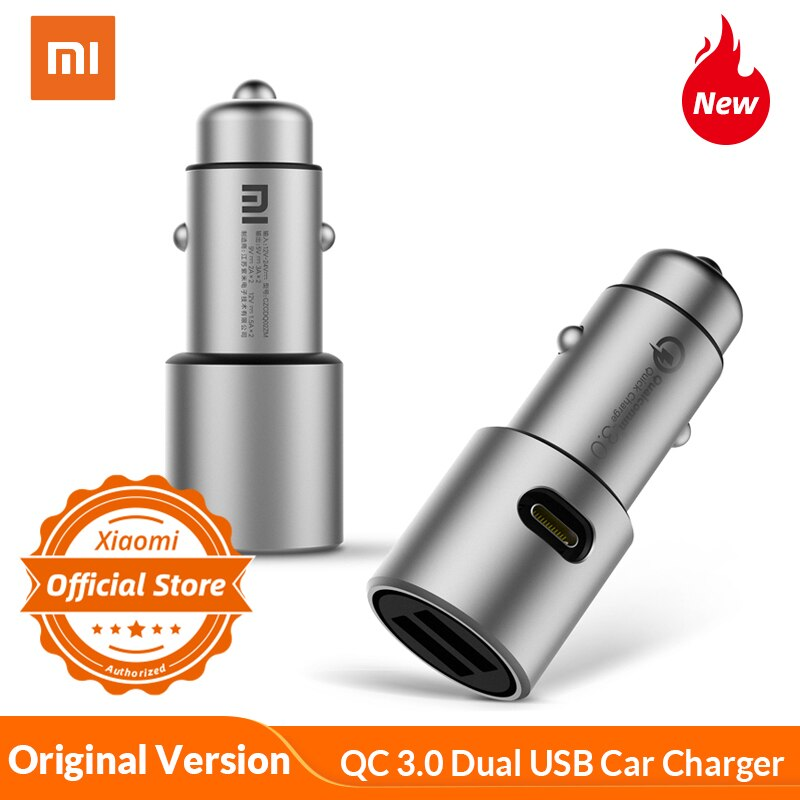 Original Xiaomi cargador de coche QC 3,0 36W Max Dual USB carga rápida 5 V/3A 9 V/2A 12 V/1.5A seguro Metal cargador para Xiaomi Android iOS