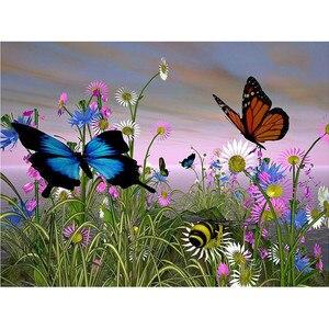 5d алмазная роспись бабочки пчела полный квадратный/круглый алмаз вышивка цветок картины из стразов Свадебные украшения FG1484