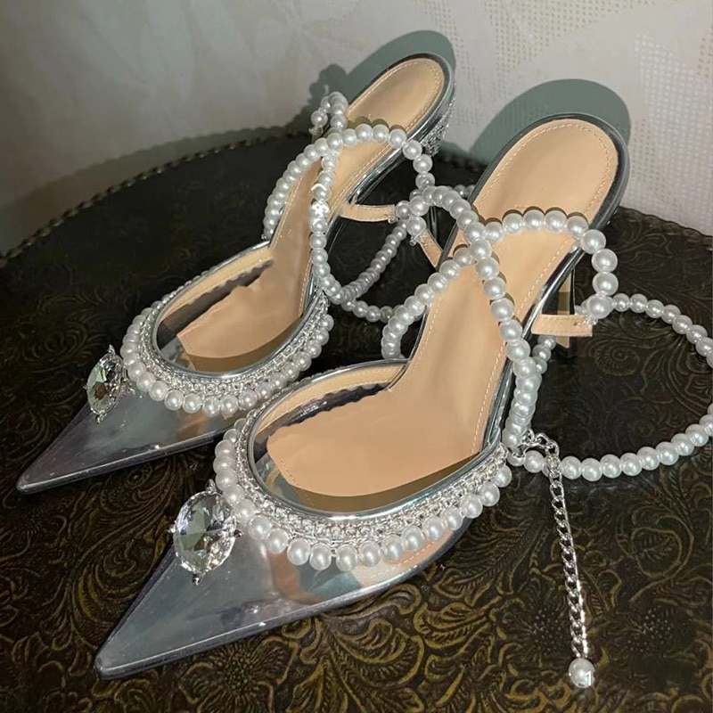 2021 Summer High Heels Sandals Sweet Silver Women's Shoes Diamond Pearl Transparent Thin Heel Pumps Single Shoes Modern Sandals