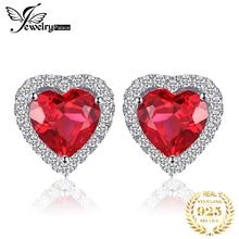 JPalace coeur créé rubis boucles doreilles en argent Sterling 925 boucles doreilles pour femmes pierres précieuses coréen boucles doreilles bijoux de mode 2020