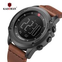 KADEMAN Military Sports Men's Watch Digital Display Waterproof Step Counter Leather Clock Top Luxury Brand LED Male Wristwatches