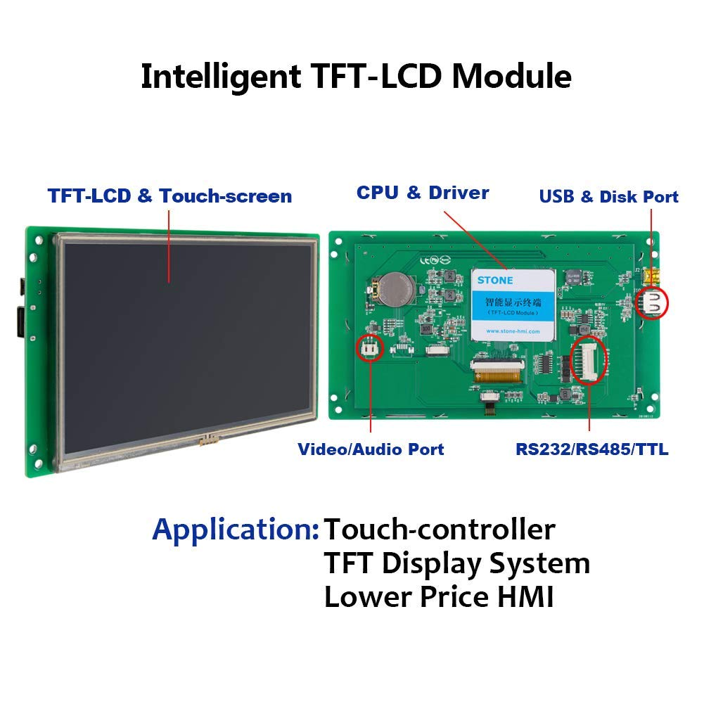 10.1 HMI Smart LCD Display Module with software + Interface + Touch Screen for Equipment Control Panel STVC101WT01