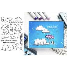 투명 클리어 우표 비오는 날 빛나는 코끼리 마우스 오리 우아한 우산 구름 단어 diy scrapbooking 카드 공예