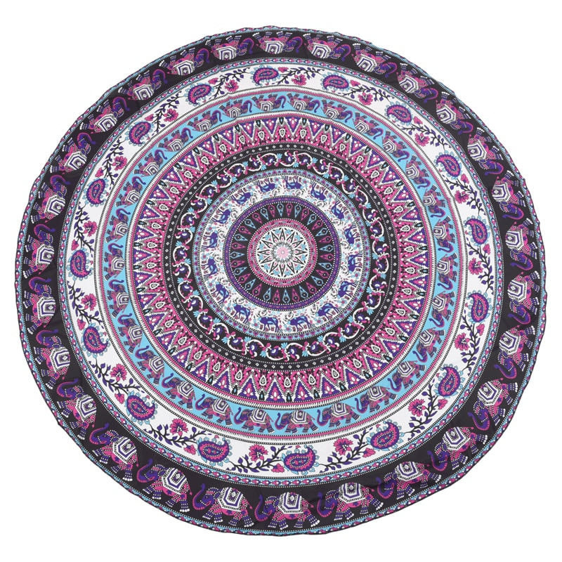 Mandala bohemia de impresión redonda tapiz colgante de pared de Picnic playa toalla manta púrpura elefante Mandala