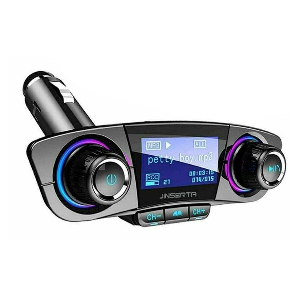 Kit de modulador, transmisor FM con Bluetooth 4,0, apagado de encendido, manos libres para coche, reproductor MP3 de música con tarjeta TF, USB y AUX Audio