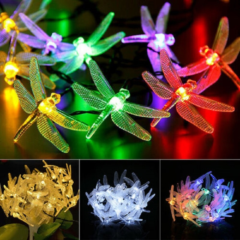 20 LED Solar Dragonfly String Lights Waterproof Outdoor Garden Party Fairy Lamp HalloweenWedding Decorations for Home Outdoor
