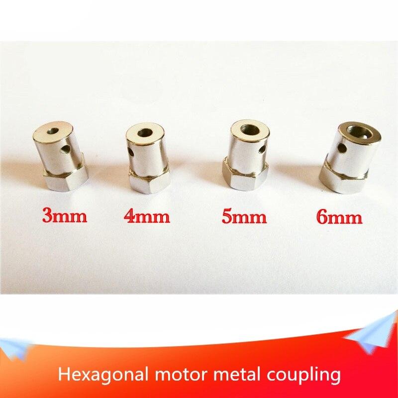 Acoplamiento Hexagonal de Motor, Conector Hexagonal de Metal y latón, accesorios para Robot DIY, eje de 3mm, 4mm, 5mm, 6mm, 7mm, rueda de tornillo de cobre amarillo