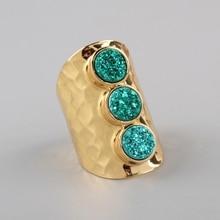 Borosa dropship titânio natural ab branco druzy anel de banda equidistante três redondo dark rainbow gems anel de casamento
