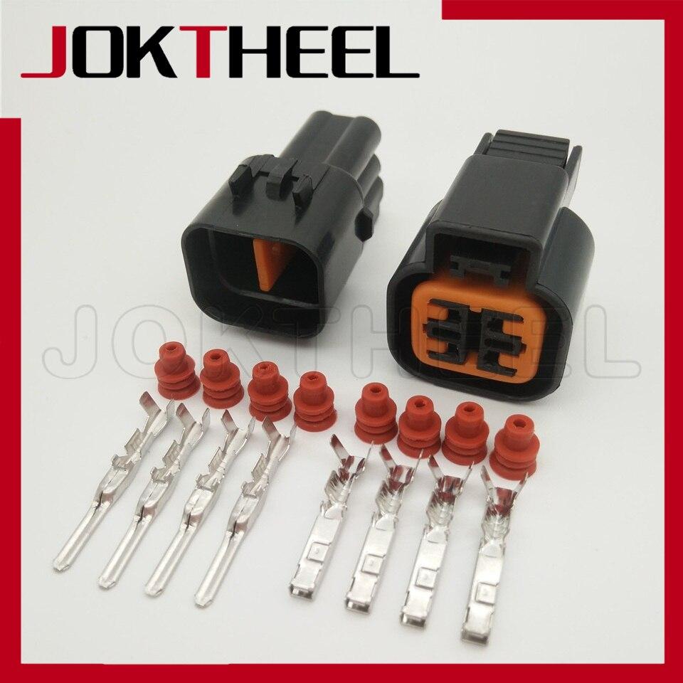 1-20 set KUM 090 tipo 4 Pin macho hembra O2 Sensor de oxígeno aguas abajo conector enchufe para Hyundai PB625-04027 PB621-04020