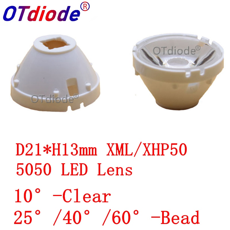 10pcs CREE XML LED XML2 LED XHP50 LED Lens 20mm white holder 10/25/45/60 degree LED LENS/Reflector Collimator